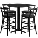 24'' Round Black Laminate Table Set with 4 Ladder Back Metal Bar Stools - Black Vinyl Seat [HDBF1033-GG]