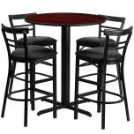 24'' Round Mahogany Laminate Table Set with 4 Ladder Back Metal Bar Stools - Black Vinyl Seat [HDBF1034-GG]