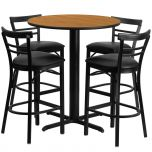24'' Round Natural Laminate Table Set with 4 Ladder Back Metal Bar Stools - Black Vinyl Seat [HDBF1035-GG]