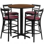 24'' Round Walnut Laminate Table Set with 4 Ladder Back Metal Bar Stools - Burgundy Vinyl Seat [HDBF1040-GG]