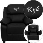 Personalized Deluxe Padded Black Leather Kids Recliner with Storage Arms [BT-7985-KID-BK-LEA-EMB-GG]