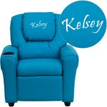 Personalized Turquoise Vinyl Kids Recliner with Cup Holder and Headrest [DG-ULT-KID-TURQ-EMB-GG]