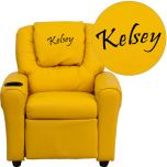 Personalized Yellow Vinyl Kids Recliner with Cup Holder and Headrest [DG-ULT-KID-YEL-EMB-GG]