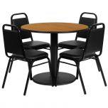 36'' Round Natural Laminate Table Set with 4 Black Trapezoidal Back Banquet Chairs [RSRB1003-GG]