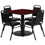 36'' Square Mahogany Laminate Table Set with 4 Black Trapezoidal Back Banquet Chairs [RSRB1010-GG]