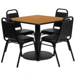 36'' Square Natural Laminate Table Set with 4 Black Trapezoidal Back Banquet Chairs [RSRB1011-GG]