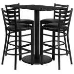 24'' x 42'' Rectangular Black Laminate Table Set with 4 Ladder Back Metal Bar Stools - Black Vinyl Seat [RSRB1017-GG]