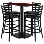 24'' x 42'' Rectangular Mahogany Laminate Table Set with 4 Ladder Back Metal Bar Stools - Black Vinyl Seat [RSRB1018-GG]