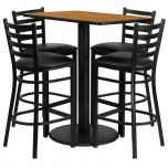 24'' x 42'' Rectangular Natural Laminate Table Set with 4 Ladder Back Metal Bar Stools - Black Vinyl Seat [RSRB1019-GG]