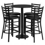 30'' Round Black Laminate Table Set with 4 Ladder Back Metal Bar Stools - Black Vinyl Seat [RSRB1021-GG]