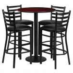 30'' Round Mahogany Laminate Table Set with 4 Ladder Back Metal Bar Stools - Black Vinyl Seat [RSRB1022-GG]