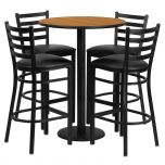 30'' Round Natural Laminate Table Set with 4 Ladder Back Metal Bar Stools - Black Vinyl Seat [RSRB1023-GG]