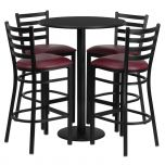 30'' Round Black Laminate Table Set with 4 Ladder Back Metal Bar Stools - Burgundy Vinyl Seat [RSRB1025-GG]