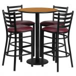 30'' Round Natural Laminate Table Set with 4 Ladder Back Metal Bar Stools - Burgundy Vinyl Seat [RSRB1027-GG]
