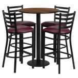 30'' Round Walnut Laminate Table Set with 4 Ladder Back Metal Bar Stools - Burgundy Vinyl Seat [RSRB1028-GG]