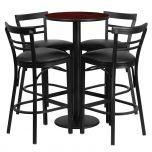 24'' Round Mahogany Laminate Table Set with 4 Ladder Back Bar Stools - Black Vinyl Seat [RSRB1034-GG]