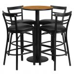 24'' Round Natural Laminate Table Set with 4 Ladder Back Metal Bar Stools - Black Vinyl Seat [RSRB1035-GG]
