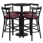 24'' Round Black Laminate Table Set with 4 Ladder Back Metal Bar Stools - Burgundy Vinyl Seat [RSRB1037-GG]