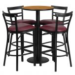 24'' Round Natural Laminate Table Set with 4 Ladder Back Metal Bar Stools - Burgundy Vinyl Seat [RSRB1039-GG]