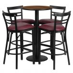 24'' Round Walnut Laminate Table Set with 4 Ladder Back Metal Bar Stools - Burgundy Vinyl Seat [RSRB1040-GG]