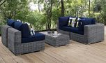 Summon 5 Piece Outdoor Patio Sunbrella Sectional Set in Canvas Navy with Pillow