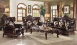 Trienke Leather Traditional Living Room Set in Espresso & Walnut