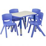21.875''W x 26.625''L Adjustable Rectangular Blue Plastic Activity Table Set with 4 School Stack Chairs [YU-YCY-098-0034-RECT-TBL-BLUE-GG]