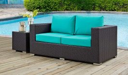 Convene Outdoor Patio Loveseat In Espresso Turquoise Free Shipping Get Furniture