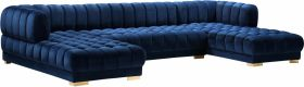 Gabriel Contemporary 3 Piece Velvet Sectional Sofa in Navy
