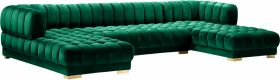 Gabriel Contemporary 3 Piece Velvet Sectional Sofa in Green