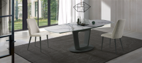 Antonella & Lola Dining Room Set (Table & 4xChairs) in White/Gry
