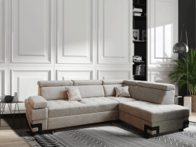 Garda Modern Fabric Sectional with Bed & Storage in Light Gray