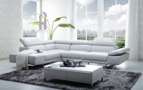 J&M 1717 Italian Leather Sectional Sofa in White with Left Facing Chaise