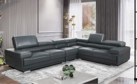Odessa Leather Modern Sectional Sofa in Dark Grey