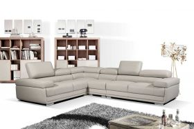 ESF 2119 Leather Sectional Sofa in Light Grey with Left Facing Chaise