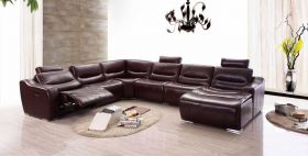 ESF 2144 Italian Leather Sectional Sofa w/Recliner in Brown with Left Facing Chaise