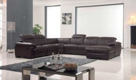 ESF 2146 Leather Sectional Sofa in Brown with Left Facing Chaise