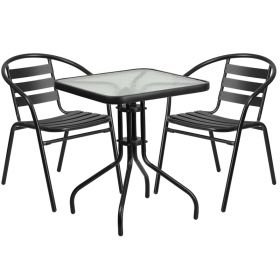 23.5'' Square Glass Metal Table with 2 Black Metal Aluminum Slat Stack Chairs [TLH-0731SQ-017CBK2-GG]