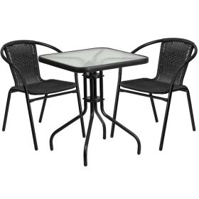 23.5'' Square Glass Metal Table with 2 Black Rattan Stack Chairs [TLH-0731SQ-037BK2-GG]