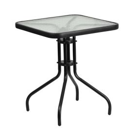 23.5'' Square Tempered Glass Metal Table [TLH-073A-1-GG]