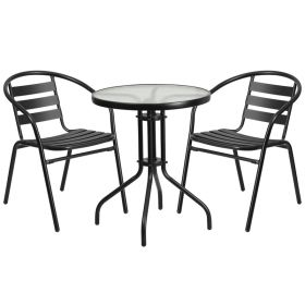 23.75'' Round Glass Metal Table with 2 Black Metal Aluminum Slat Stack Chairs [TLH-071RD-017CBK2-GG]
