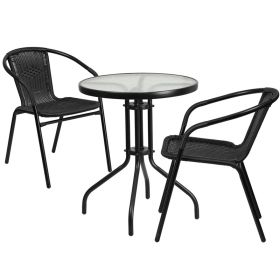 23.75'' Round Glass Metal Table with 2 Black Rattan Stack Chairs [TLH-071RD-037BK2-GG]
