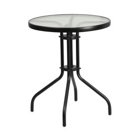 23.75'' Round Tempered Glass Metal Table [TLH-070-1-GG]