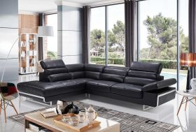 ESF 2347 Leather Sectional Sofa in Black