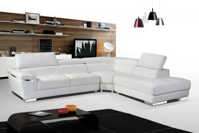 ESF 2383 Leather Sectional Sofa in White with Left Facing Chaise