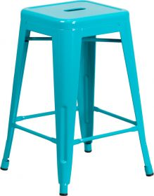 24'' High Backless Crystal Teal-Blue Indoor-Outdoor Counter Height Stool [ET-BT3503-24-CB-GG]