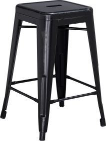 24'' High Backless Distressed Black Metal Indoor-Outdoor Counter Height Stool [ET-BT3503-24-BK-GG]