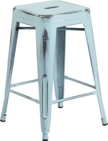24'' High Backless Distressed Dream Blue Metal Indoor-Outdoor Counter Height Stool [ET-BT3503-24-DB-GG]