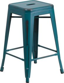 24'' High Backless Distressed Kelly Blue-Teal Metal Indoor-Outdoor Counter Height Stool [ET-BT3503-24-KB-GG]