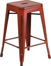 24'' High Backless Distressed Kelly Red Metal Indoor-Outdoor Counter Height Stool [ET-BT3503-24-RD-GG]